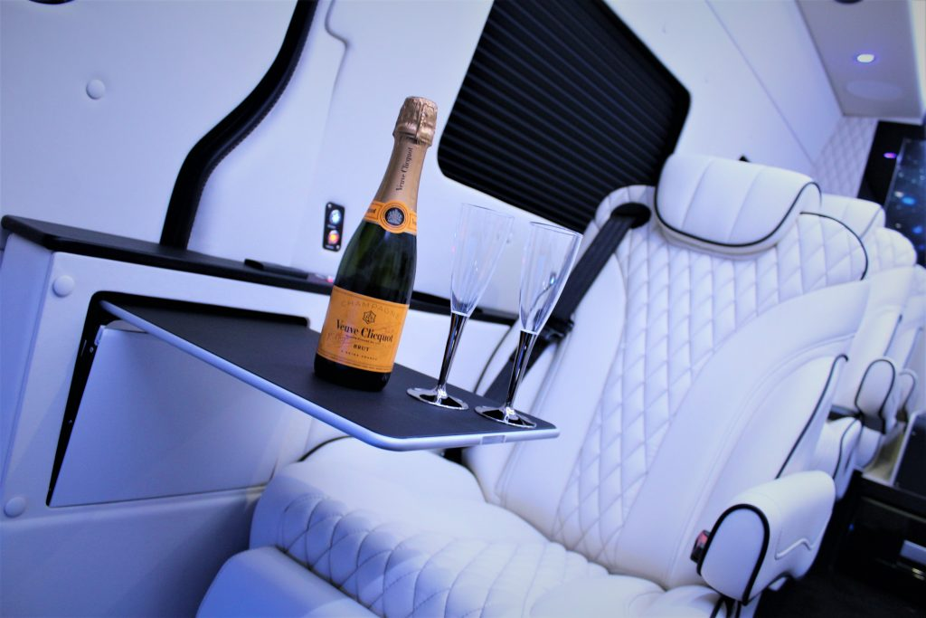 Inside Monaco car with champagne